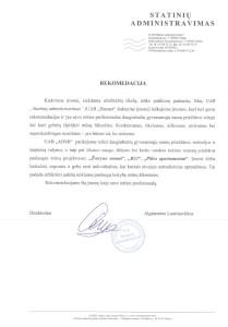 UAB Statinių administravimas, Rekomendacija