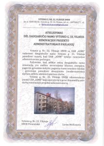 Vytenio 33 DNSB atsiliepimas dėl renovacijos