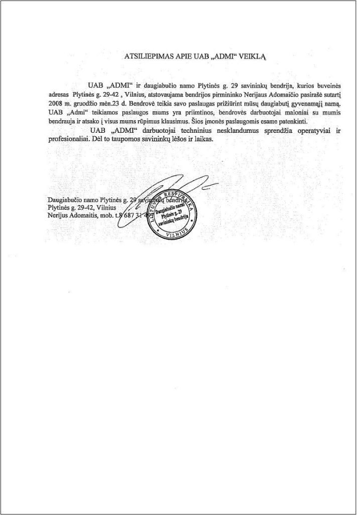 Plytinės 29 DNSB Atsiliepimas apie UAB ADMI darbą